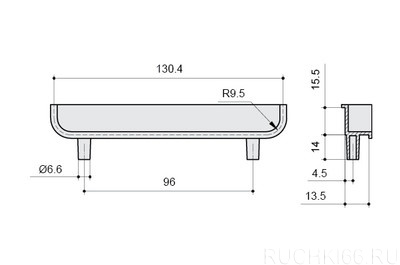 Ручка-скоба врезная торцевая 96 мм